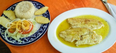 Langzeiturlaub Kolumbien, Kolumbien, Frischer Fisch mit Reis, Salat und Pan de Arbol