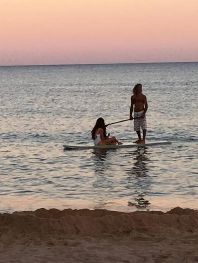 3 Wochen Santa Margherita di Pula (Stadt), Sardinien, Italien, I am in paradise and even Jesus was paddling past