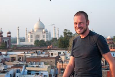 Kurzurlaub Agra (Stadt), Uttar Pradesh, Indien, Meine Vorfreude steigt, als ich das erste Mal auf die Dachterrasse mei