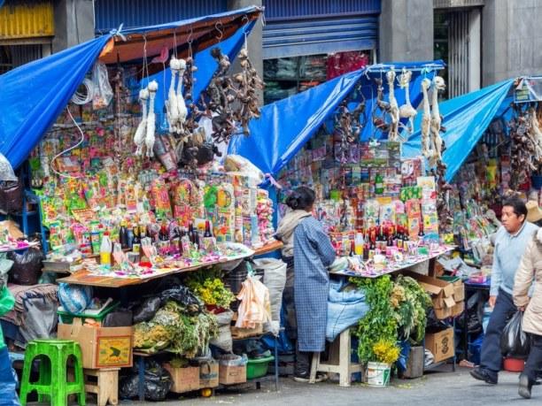 Langzeiturlaub Bolivien, Bolivien, Es macht Spaß, die lokalen Märkte in La Paz zu erkunden. Der Hexenma