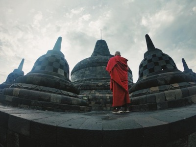Langzeiturlaub Bali, Indonesien, Mönch @ Borobodur Tempel