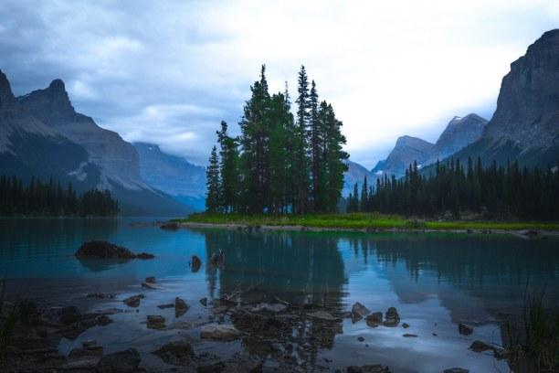 Kurztrip Jasper (Stadt), Alberta, Kanada, Kurz bevor die Sonne untergegangen ist, haben wir es noch zum Maligne