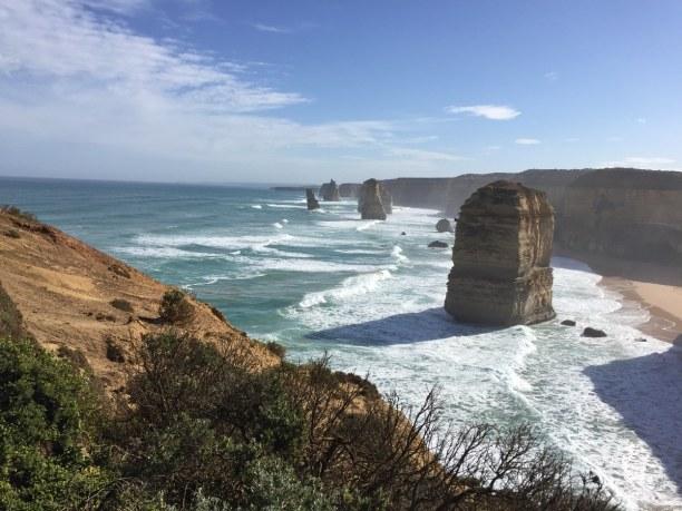 Kurzurlaub Victoria, Australien, Die 12 Apostel vom Wanderweg aus gesehen.