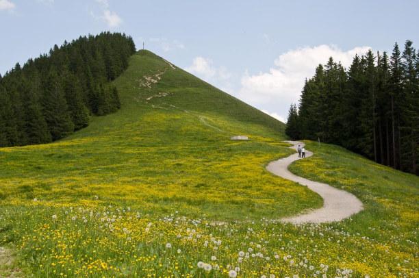 Kurzurlaub Oberammergau (Stadt), Bayern, Deutschland, Oben angekommen führt ein Fußweg hinauf zum Gipfel.