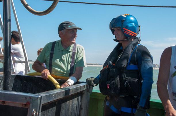 Eine Woche Belgien, Belgien, Bei einer Marineübung wurde unser Fischerboot, die Crangon, als Ziel