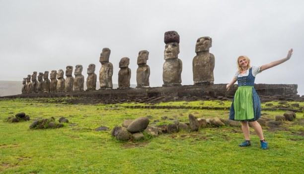 Kurzurlaub Osterinsel, Chile, Auch das Dirndl ist auf der Osterinsel mit dabei!
