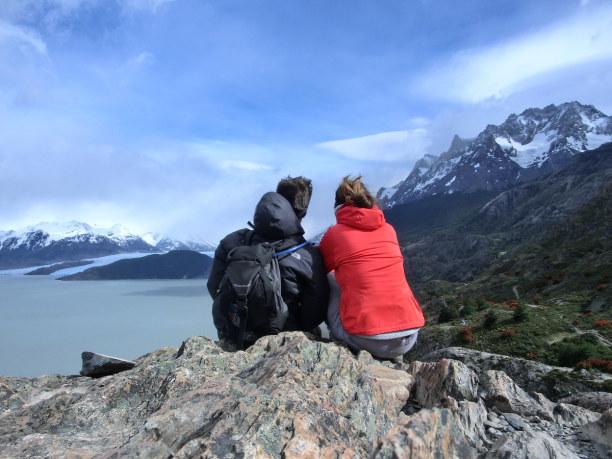 Kurztrip Patagonien, Chile, Wir genießen die Aussicht auf den Gletscher und sind froh, dass unser