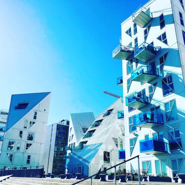 Kurzurlaub Aarhus, Dänemark, moderner Wohnkomplex am Wasser - auch Eisberg genannt