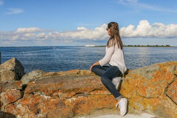 Kurzurlaub Kopenhagen, Dänemark, Ein Blick auf unsere schöne MS Deutschland, welche vor Aeroskobing au