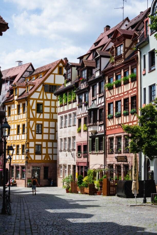 Langzeiturlaub Bayern, Deutschland, Das Stadtbild von Nürnberg ist von mittelalterlicher Architektur wie
