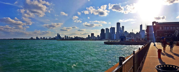 Kurzurlaub Chicago (Stadt), Illinois, USA, Blick vom Navy Pier auf den Lake Michigan  LAKE MICHIGAN  Ohne den Lak