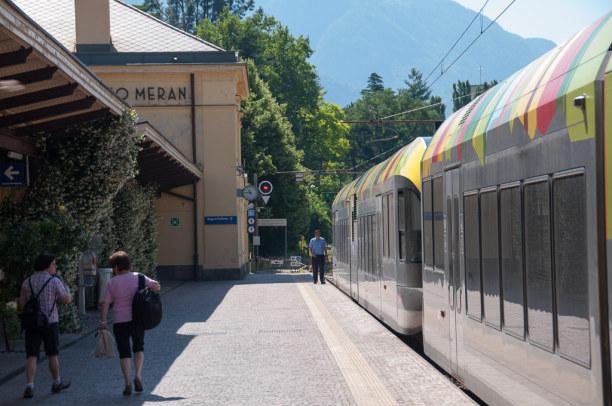 Kurzurlaub Trentino-Südtirol, Italien, In Meran geht unsere RailRaodTrip durch das Etschtal zu Ende. Mit der