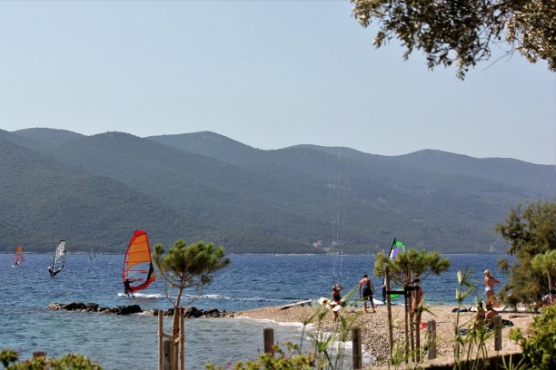 10 Tage Adriatische Küste, Kroatien, So sieht der Kitespot am Campingplatz Anthony Boy aus. Mitte September