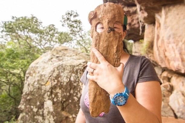 Kurztrip Soutpansberg (Stadt), Landesinnere, Südafrika, Solche Masken wurden von den Buschmännern verwendet um unangenehme Na