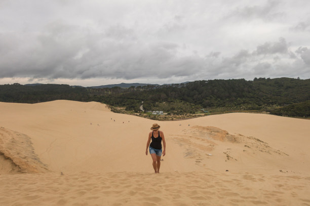 Eine Woche Nordinsel, Neuseeland, Die Dünen sind ein Spielplatz für Groß und Klein. Wer mag, kann mit