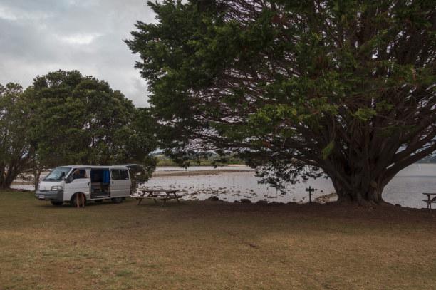 Eine Woche Nordinsel, Neuseeland, Wir übernachten mit unserem Camper auf dem Campingplatz des Aroha Isl