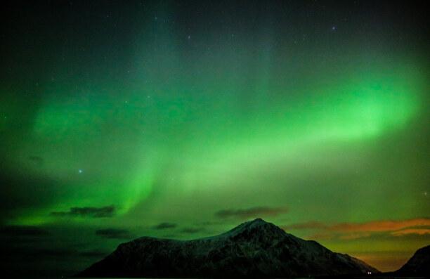 10 Tage Lofoten & Vesterålen, Norwegen, Meine ersten Polarlichter habe ich am Strand von Flakstad gesehen. Ein