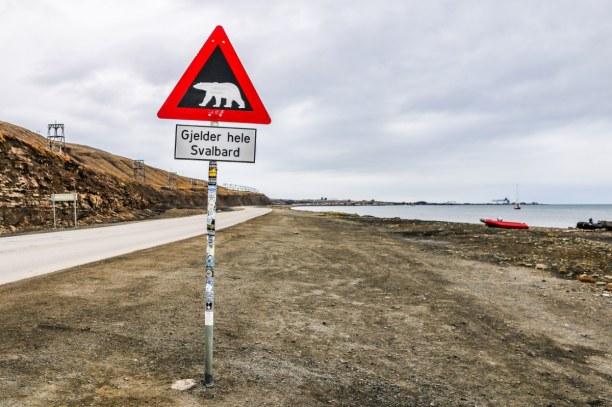 Langzeiturlaub Spitzbergen, Norwegen, Das wohl beliebteste Fotomotiv auf Spitzbergen: das Eisbären-Warnschi