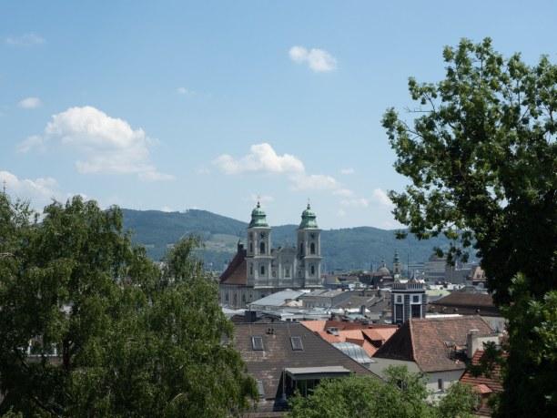 Kurztrip Linz (Stadt), Oberösterreich, Österreich, Blick auf die Linzer Altstadt vom Schloss aus