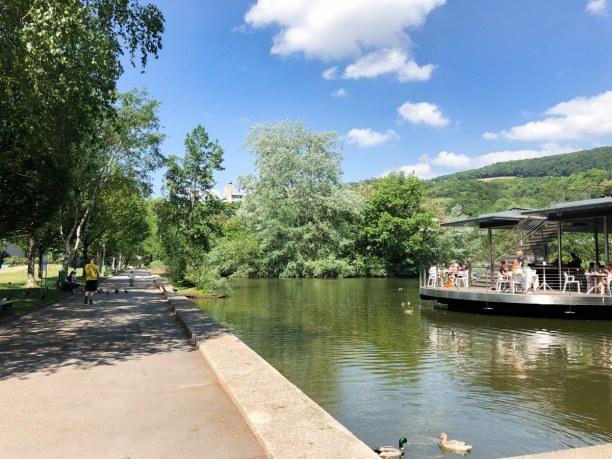 Kurzurlaub Linz (Stadt), Oberösterreich, Österreich, Im Sommer die Straßenbahn-Reise wert: JKU Teichwerk mit köstlichen B