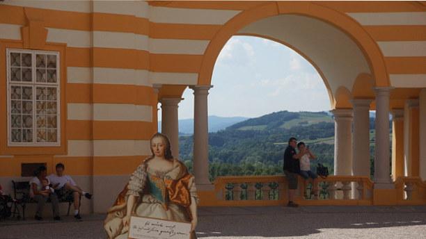 Langzeiturlaub Niederösterreich, Österreich, Der Ausblick vom Balkon der Altane über den Ort und die Landschaft is