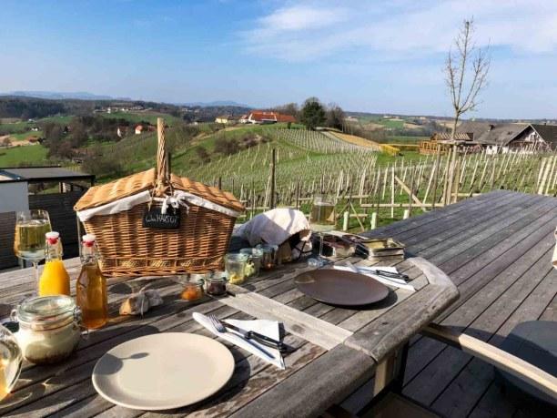 Kurzurlaub Steiermark, Österreich, Frühstück mit Ausblick