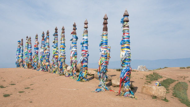Langzeiturlaub Sibirien, Russische Föderation, Oberhalb des Schamanensteins sind heilige Plätze der Burjaten angeleg