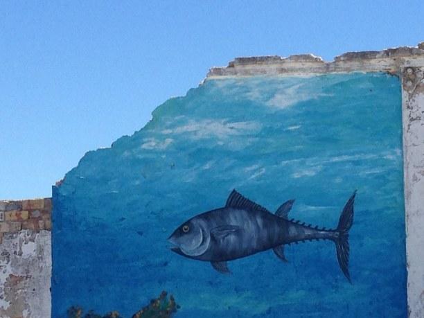 Zwei Wochen Costa de la Luz, Spanien, Wandmalerei in Sancti Petri