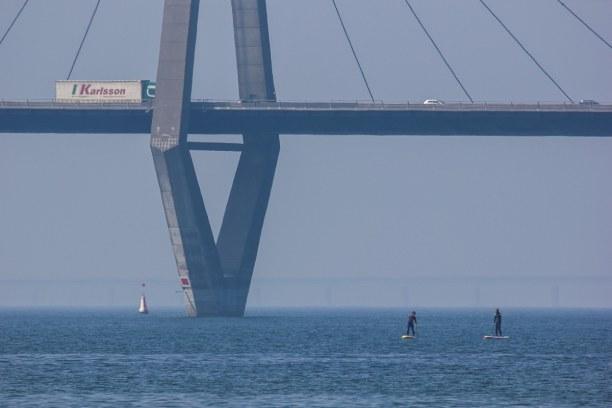 Kurzurlaub Holeby (Stadt), Storstrøm, Dänemark, Die Brücke ist wirklich beeindruckend und man kann direkt mit dem SUP