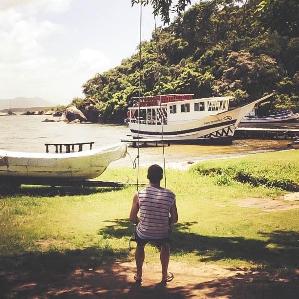 10 Tage Florianópolis (Stadt), Süden, Brasilien, Schaukeln an der Lagoa da Conceição mit herrlichem Blick über die L