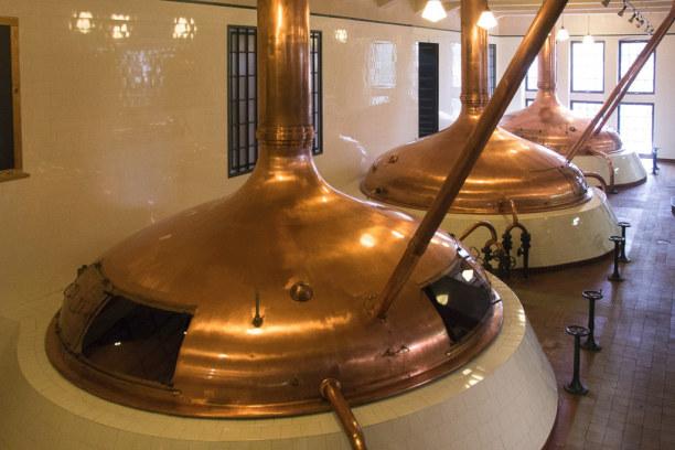 Kurzurlaub Plzen (Stadt), Westböhmen, Tschechische Republik, Bei der Brauereiführung besichtige ich das Sudhaus.