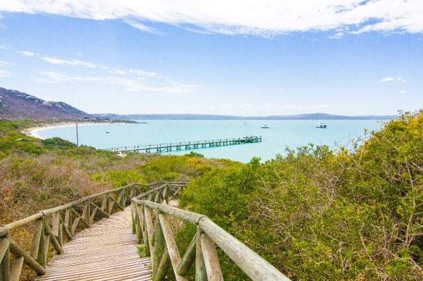 Kurztrip Langebaan (Stadt), Westküste, Südafrika, Blick auf die Lagune im West Coast National Park. Im Gegensatz zum Atl